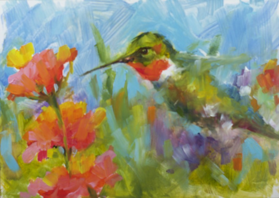 """Hummer Sketch"" original fine art by Sue Churchgrant"