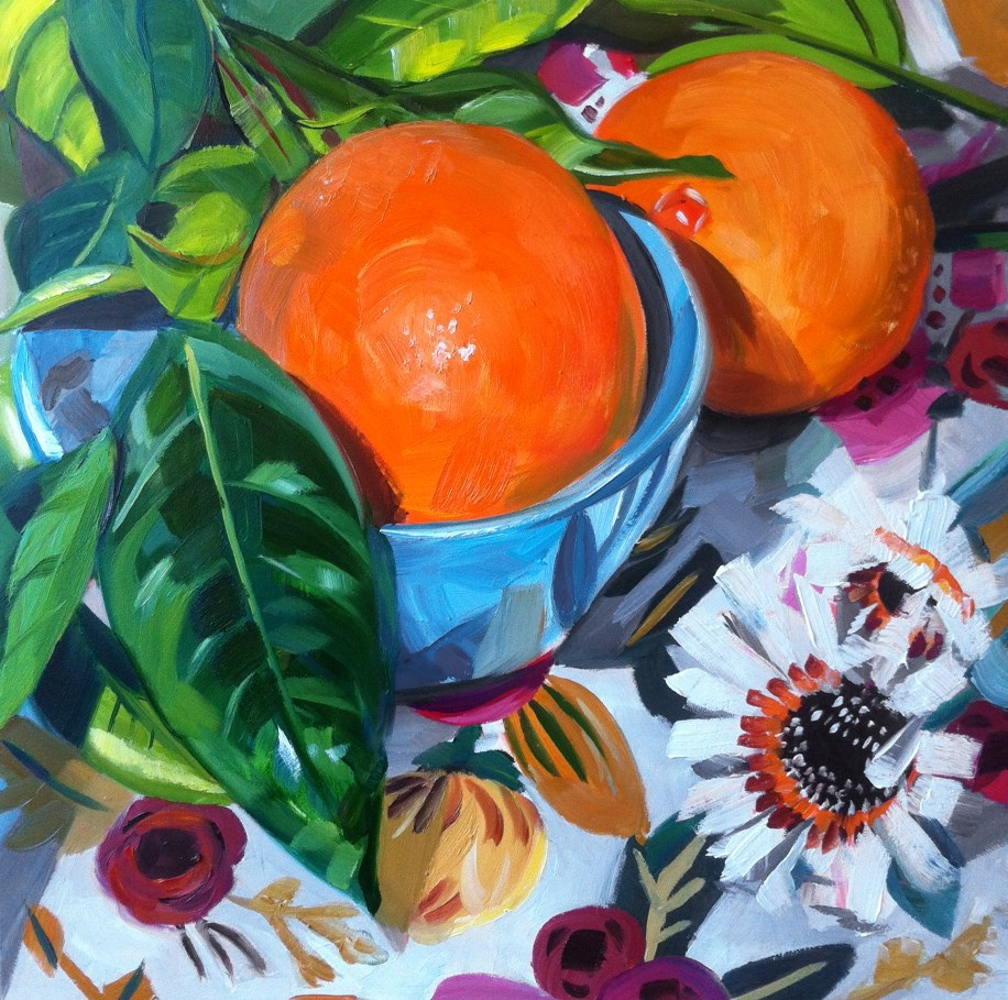 """Arizona Flowers, Arizona Oranges"" original fine art by Katy O'Connor"