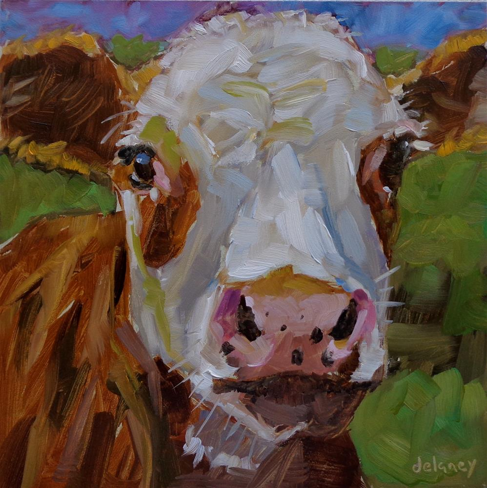 """Cow 135 VOGUE"" original fine art by Jean Delaney"