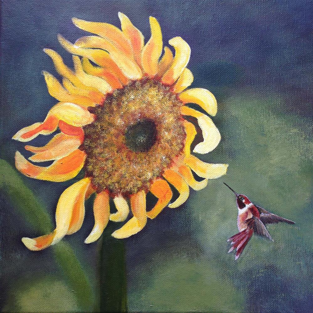 """Sunflower Visit"" original fine art by Michelle Wolfe"