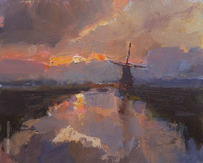 """Windmill in Early Morning"" original fine art by Roos Schuring"