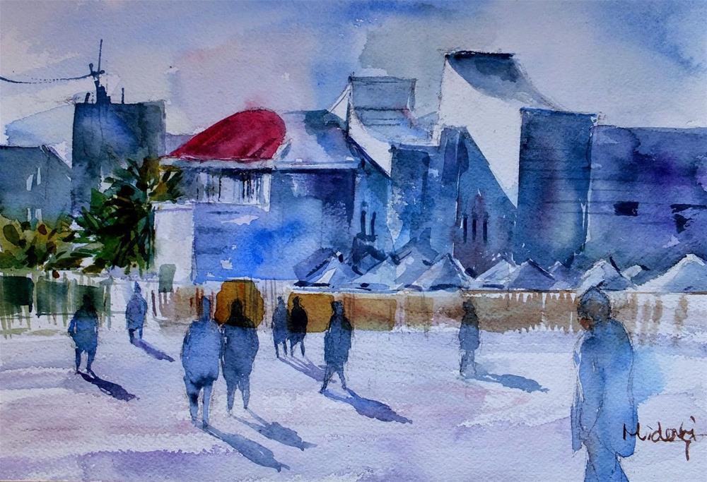 """A municipality building"" original fine art by Midori Yoshino"