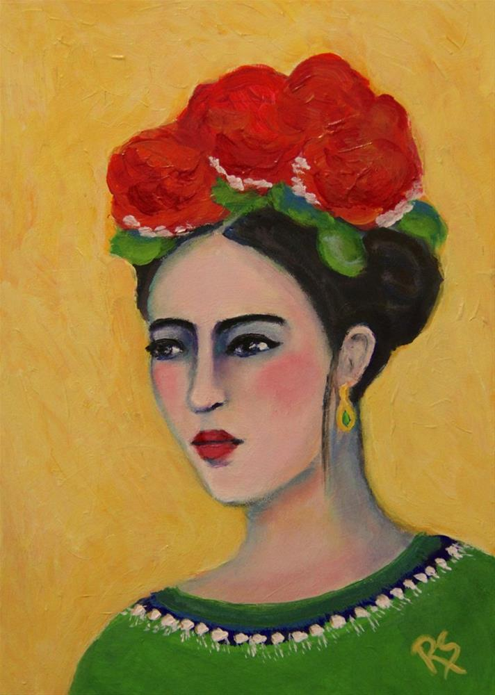 """Beauty - A Frida Kahlo Inspired Painting"" original fine art by Roberta Schmidt"