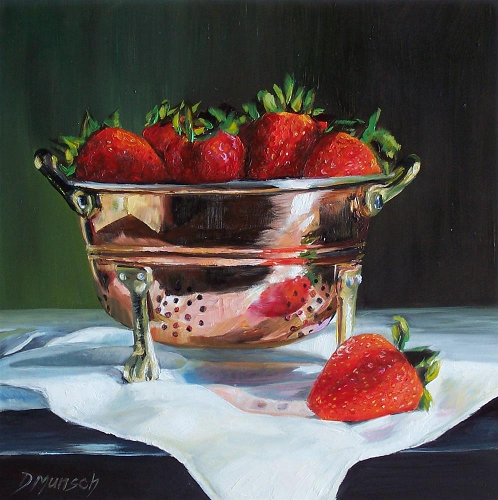 """Strawberry Copper Colander"" original fine art by Donna Munsch"