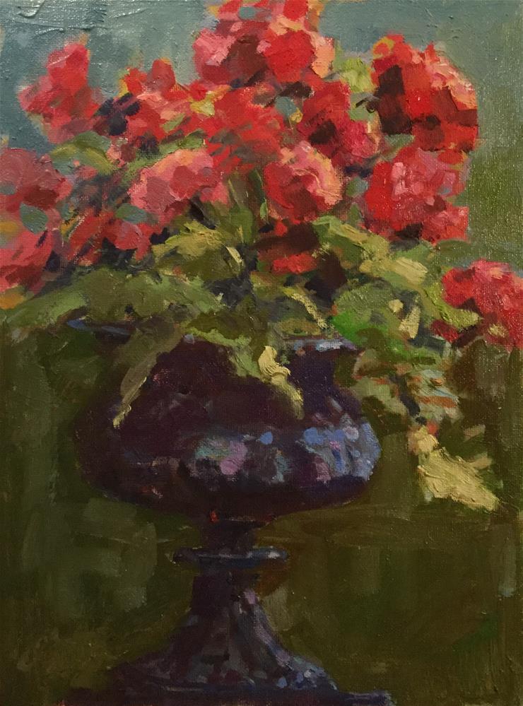 """Red Flowers in Urn"" original fine art by Barb Walker"