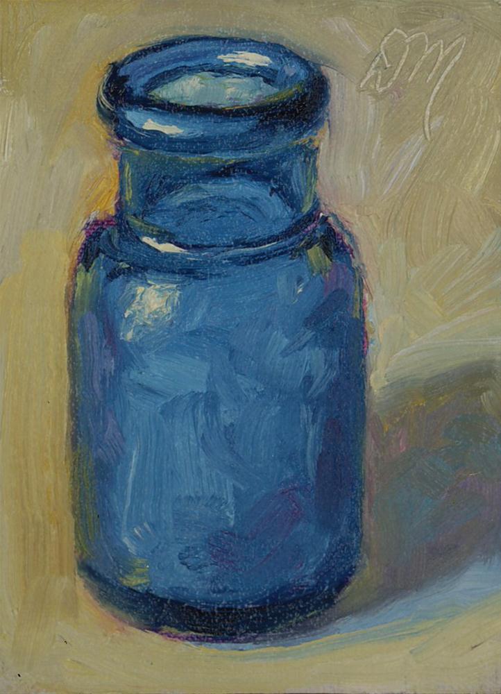 """""""Blue Bottle"""" original fine art by Diane Mannion"""