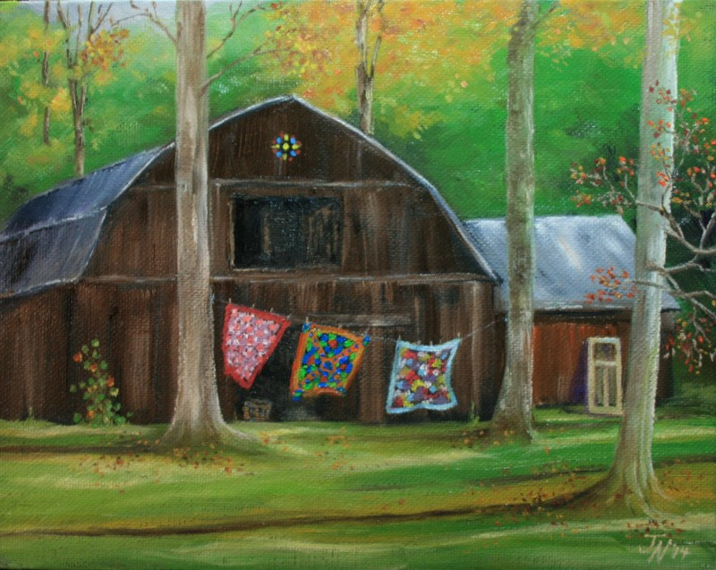 """Quilts and the Old Barn"" original fine art by Jean Nelson"