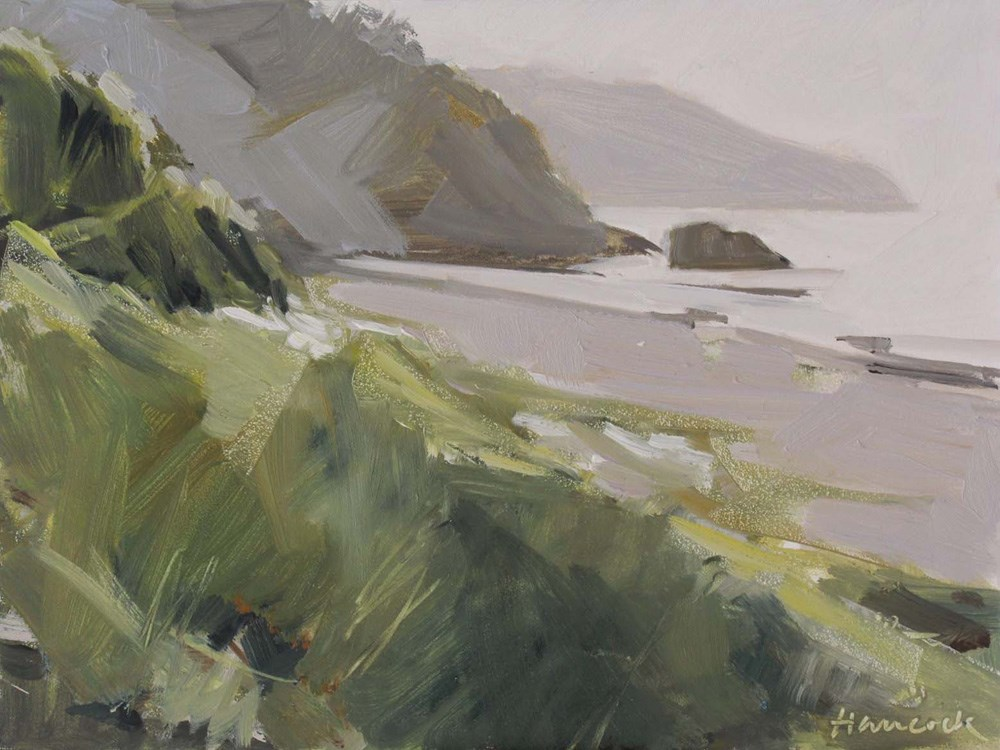 """Headlands in Late Sun"" original fine art by Gretchen Hancock"