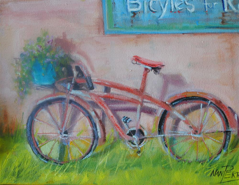"""Bikes for Rent"" original fine art by Nan Perry"
