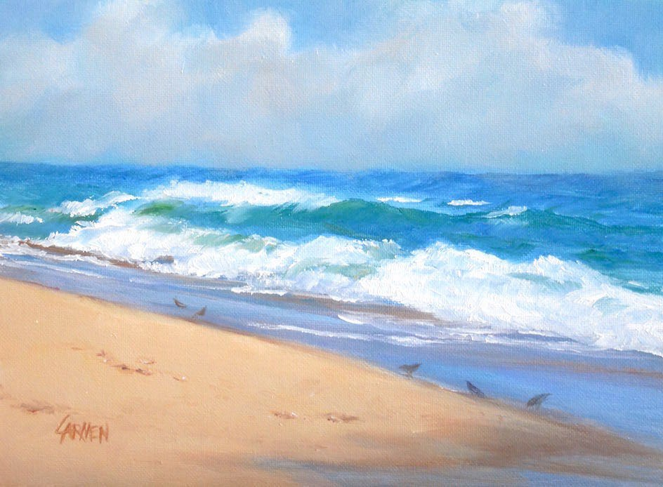 """The Little Birds, 6x8 Original Oil on Canvas Panel, Seascape Daily Painting"" original fine art by Carmen Beecher"