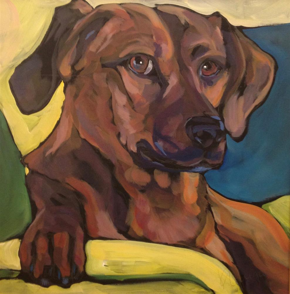 """Noble Dog, Yellow Chair"" original fine art by Kat Corrigan"