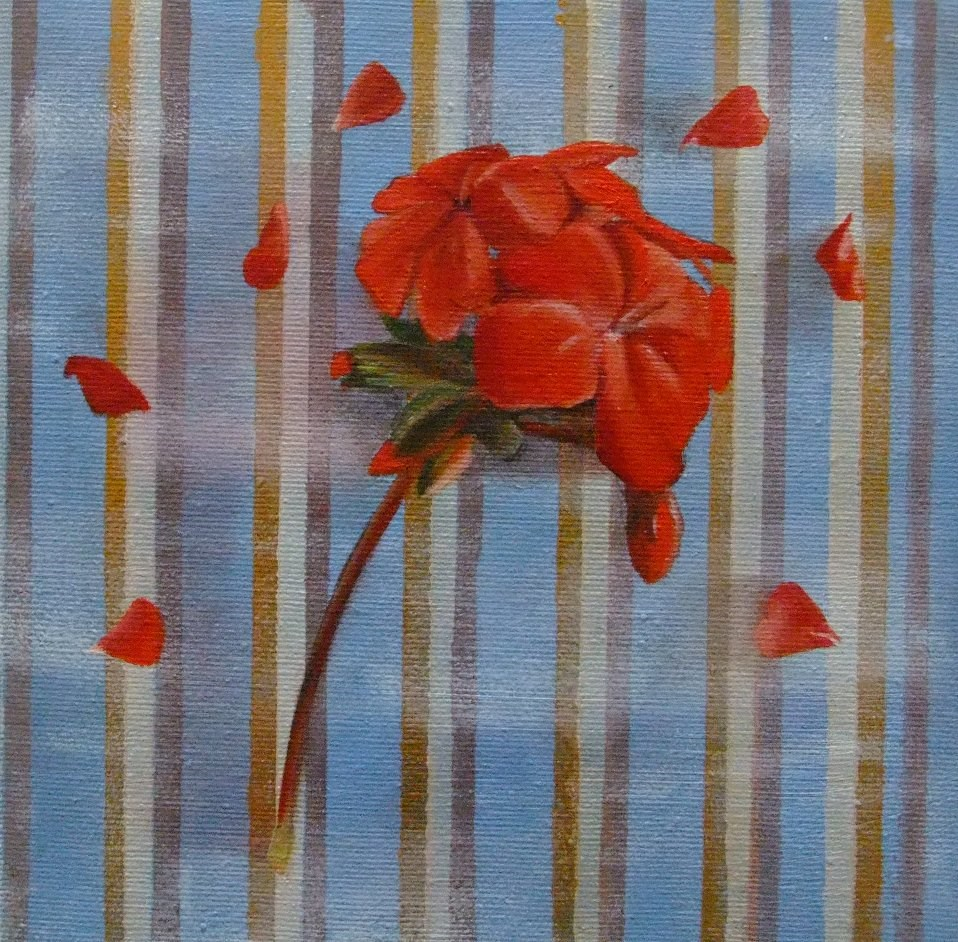 """Geranium and Stripes"" original fine art by Cathy Holtom"