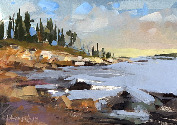 """Coastline Sketch - Alla Prima"" original fine art by David Lloyd"