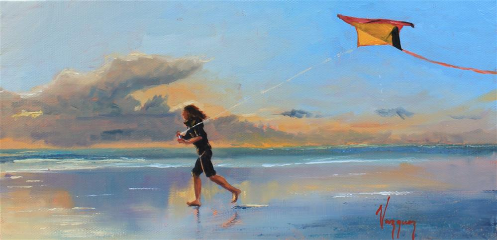 """Kite-flying"" original fine art by Marco Vazquez"