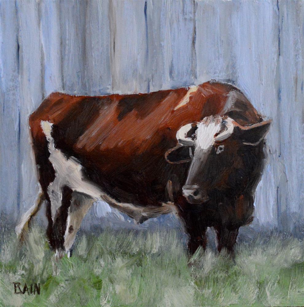 """Bull & Barn"" original fine art by Peter Bain"