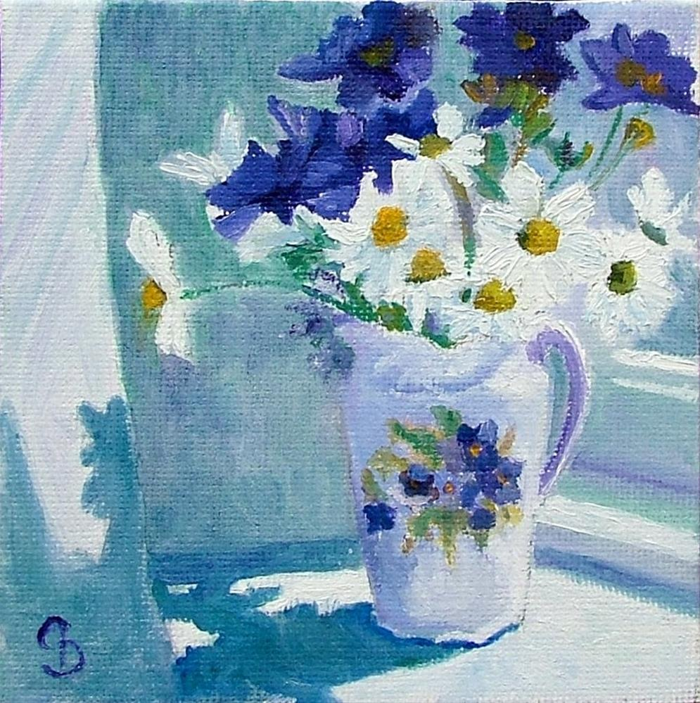 """Victorian Jug and Daisies"" original fine art by Christine Derrick"