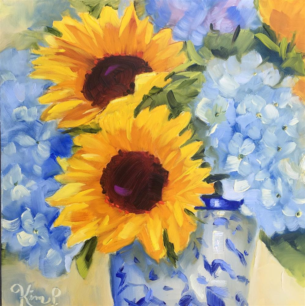 """""""Sunflowers with Blue Hydrangeas in Blue and White Vase"""" original fine art by Kim Peterson"""