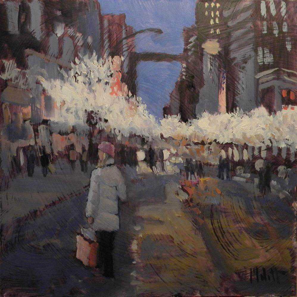 """Chicago Christmas Shopping Contemporary Impressionist Painting 8x8 Heidi Malott"" original fine art by Heidi Malott"