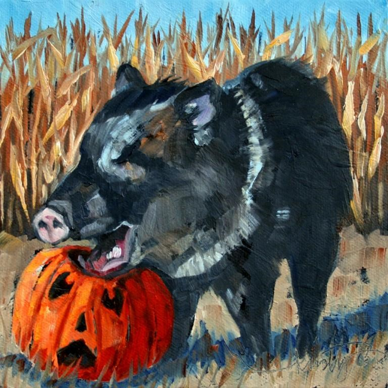 """HALLOWEEN JAVELINA"" original fine art by Kristy Tracy"