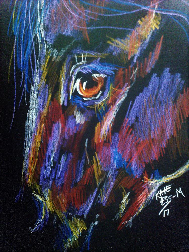 """colored pencil on black"" original fine art by Kate Less-Madsen"