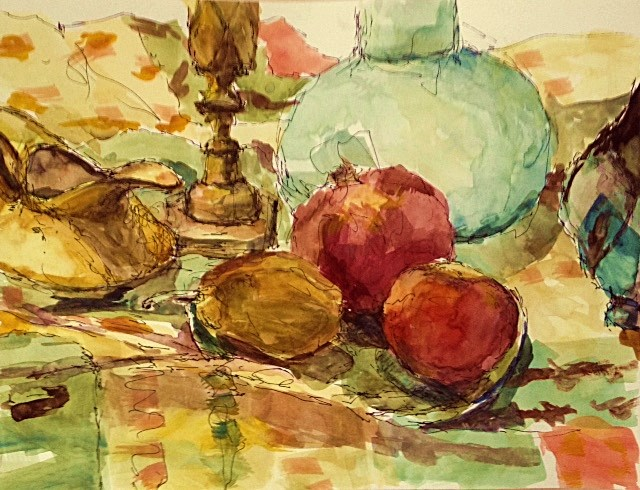 """Gold with 3 Fruit"" original fine art by Katie Wilson"