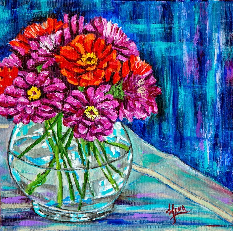 """Summer Zinnias"" original fine art by Hema Sukumar"