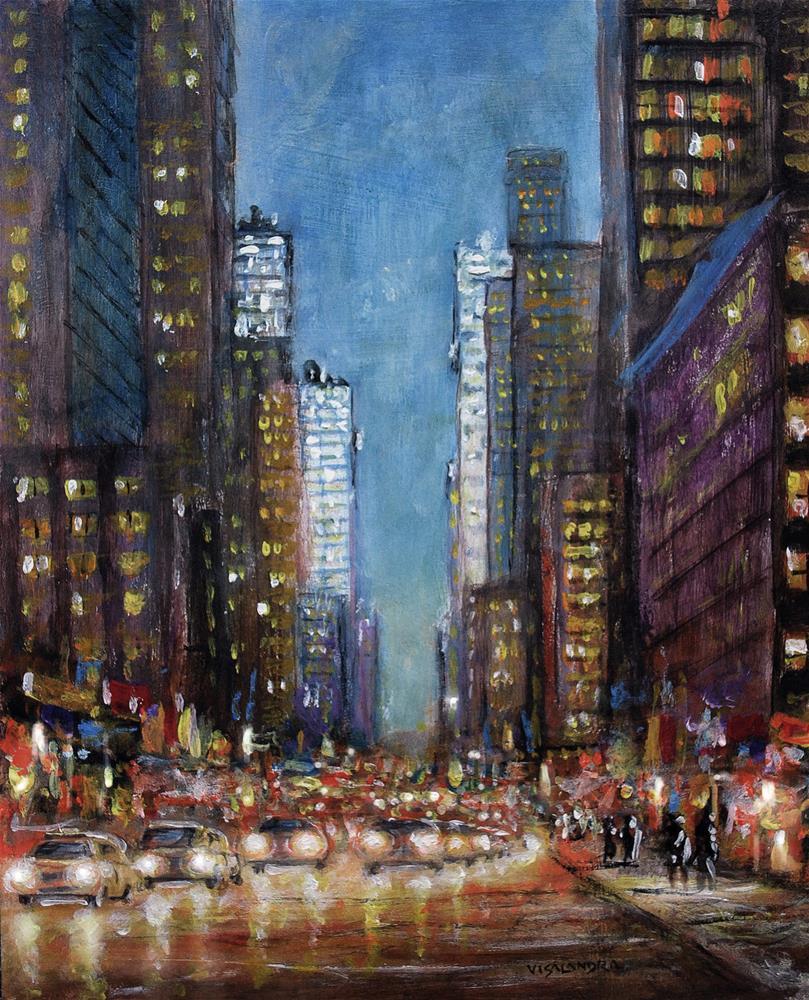 """New York in night5"" original fine art by vishalandra dakur"