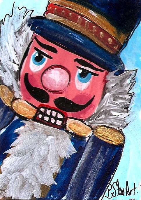 """ACEO Nutcracker Painting Soldier Face Original Acrylic Art SFA Penny StewArt"" original fine art by Penny Lee StewArt"