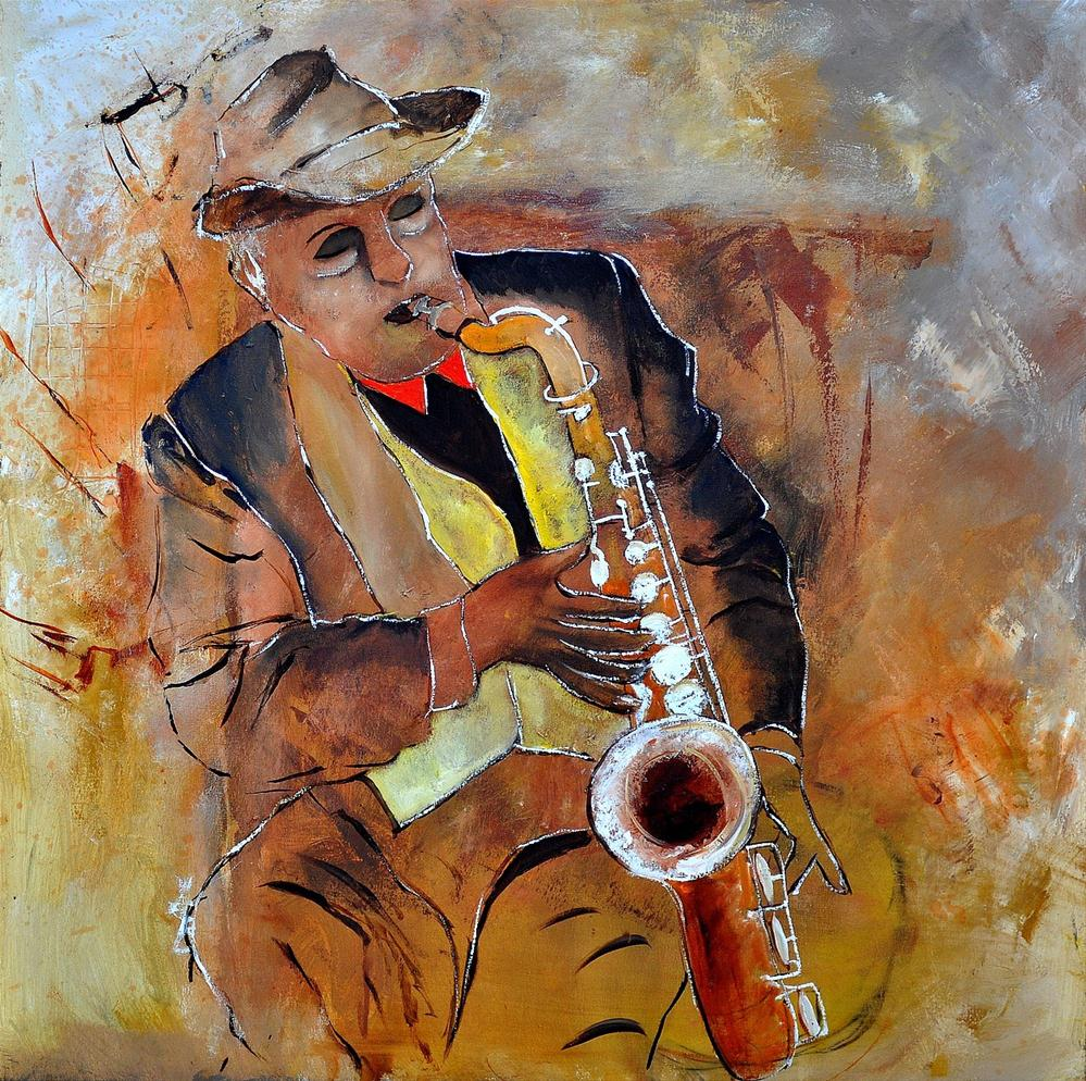 """saxplayer 88"" original fine art by Pol Ledent"