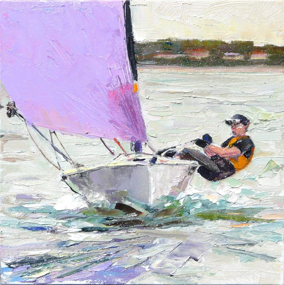 """Sailboat Racing,figure,oil on canvas,8x8,price$300"" original fine art by Joy Olney"