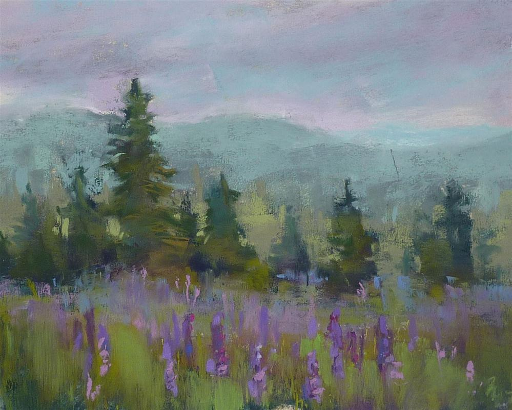 """Maine Landscape with Lupines"" original fine art by Karen Margulis"