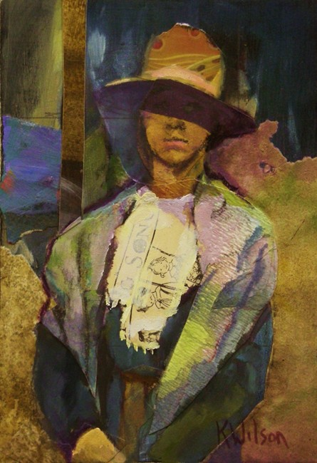 """Wide Rim Brown Hat"" original fine art by Katie Wilson"