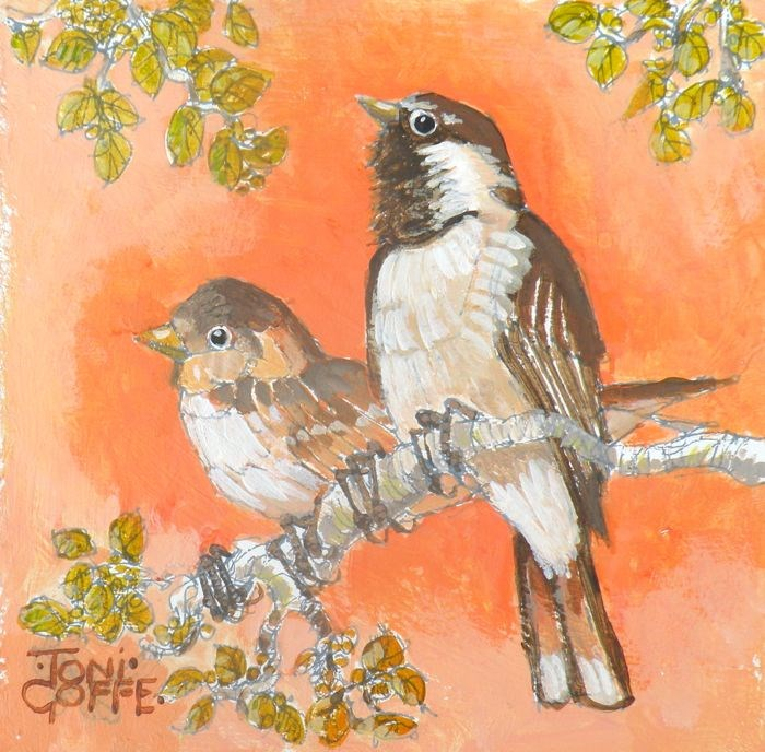 """House Sparrows"" original fine art by Toni Goffe"
