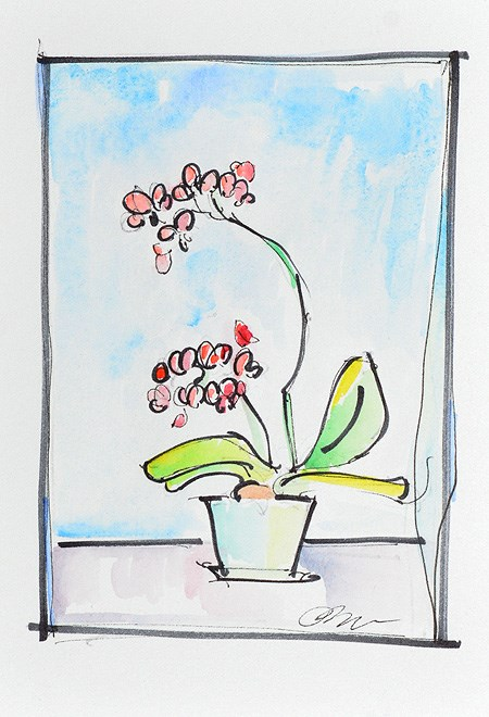 """Orchids Still Life Watercolor"" original fine art by Kevin Inman"