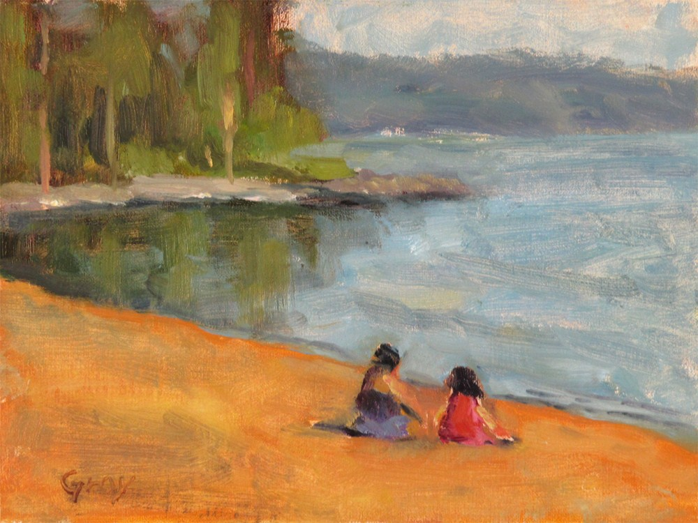 """Lakeside Beach"" original fine art by Naomi Gray"