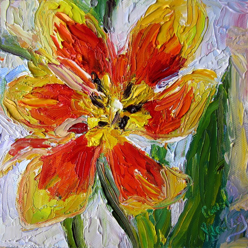 """Flame Tulip Splayed"" original fine art by Carol Steinberg"