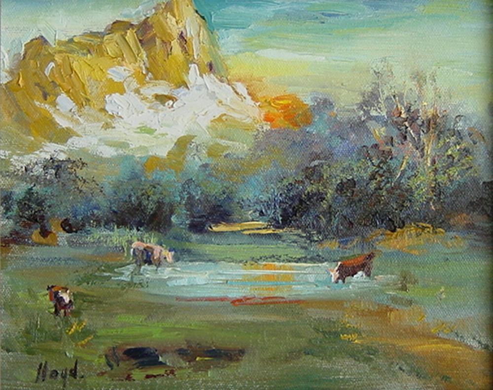 """Sunset at the Pond"" original fine art by Diane Lloyd"