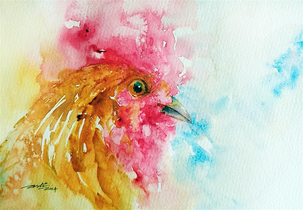 """Golden Rooster Portrait"" original fine art by Arti Chauhan"