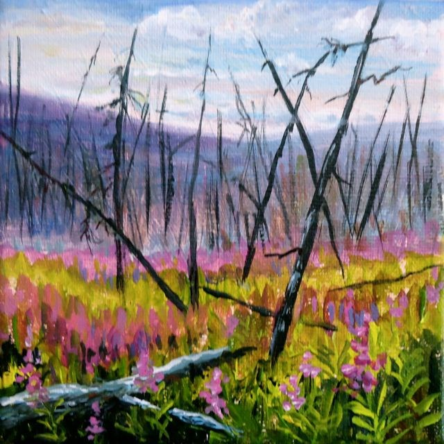 """Yukon Fireweed Series No. 1"" original fine art by Jackie Irvine"