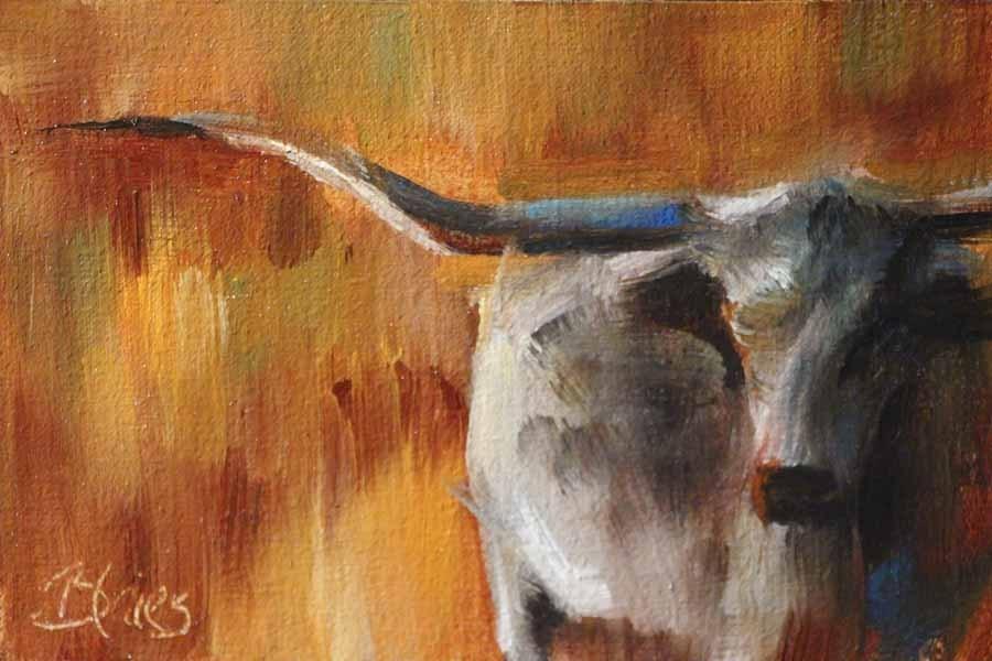"""Longhorn Study"" original fine art by Pamela Blaies"