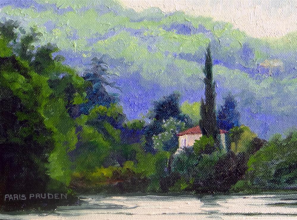 """""""Misty Lake in France"""" original fine art by Nancy Paris Pruden"""