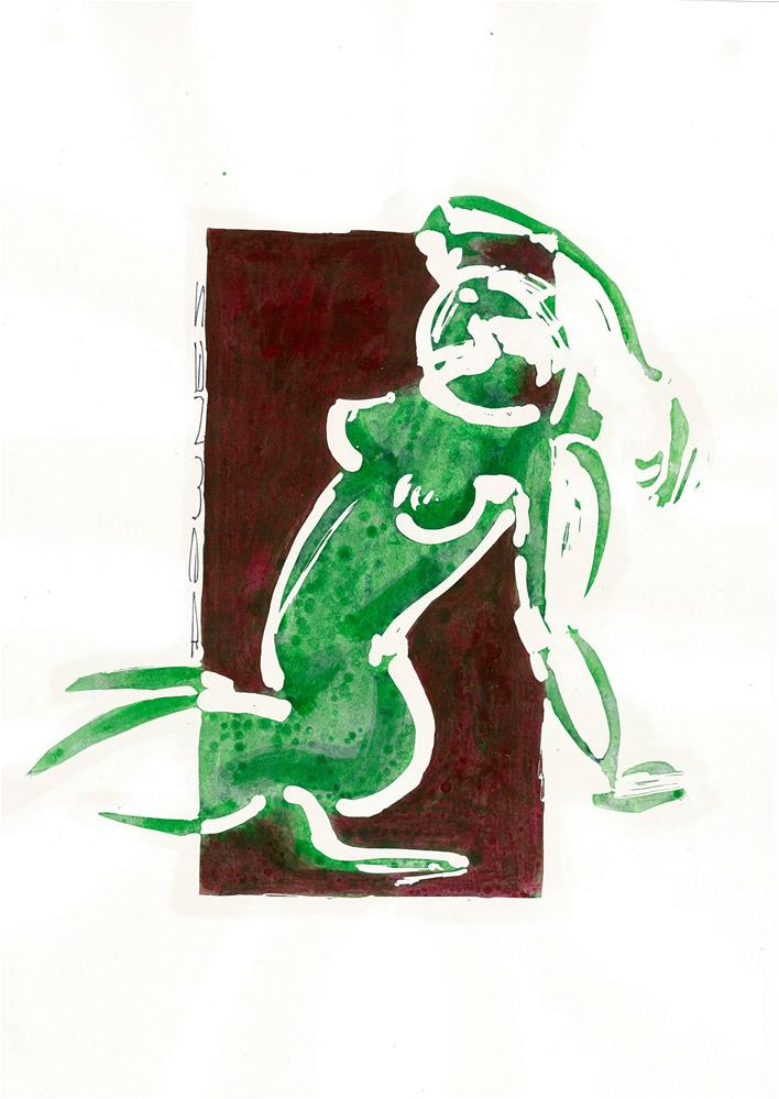 """298 STYLISED LIFE SKETCH 14"" original fine art by Trevor Downes"