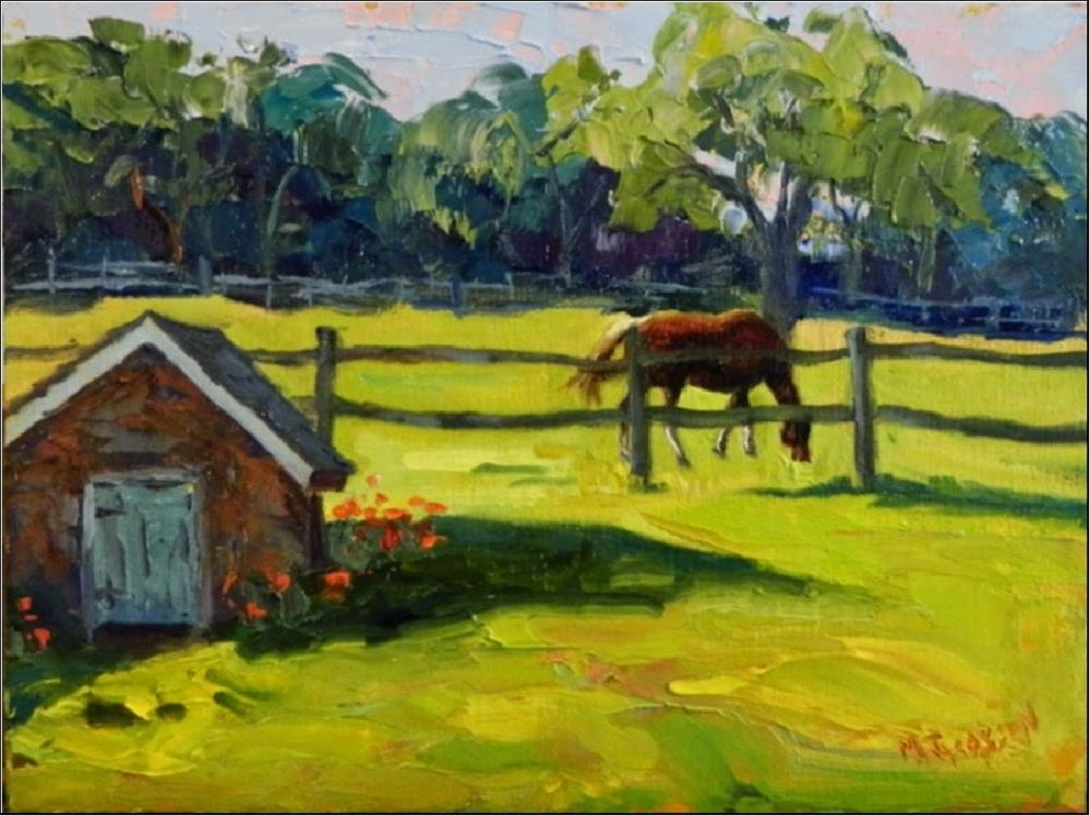 """Morning Pasture, Misty Hollow Farm, 9x12, horse, paintings of horses, Springhouse, meadow, Chester"" original fine art by Maryanne Jacobsen"