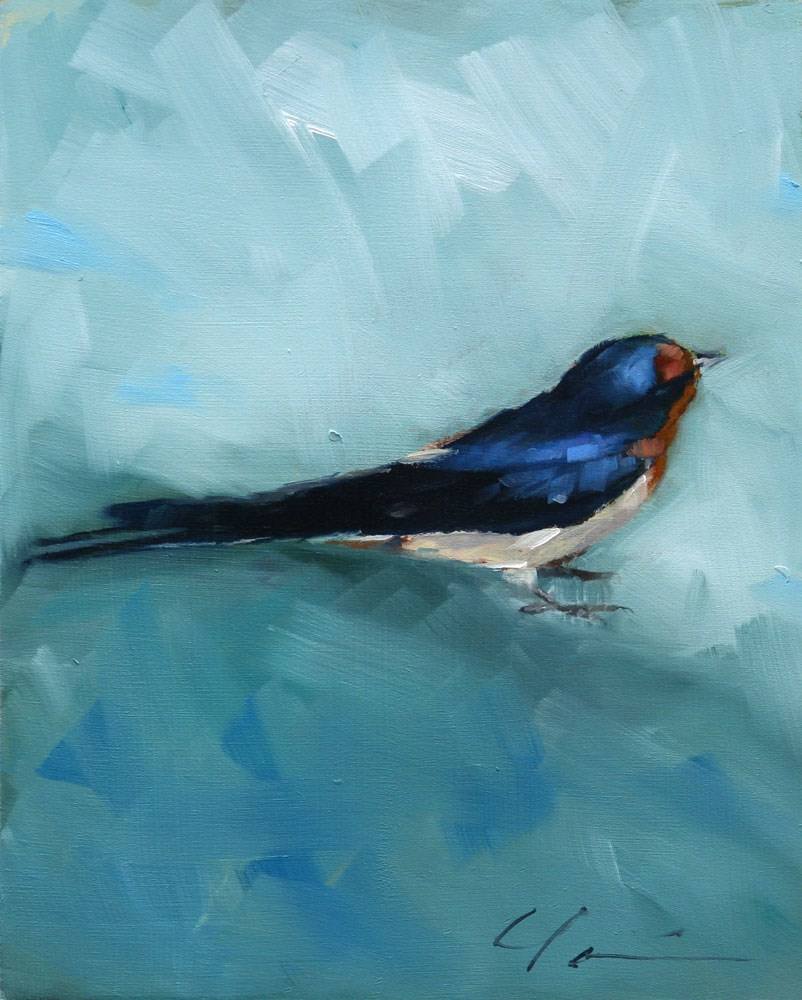 """SWALLOW ON BLUE GREEN"" original fine art by Clair Hartmann"