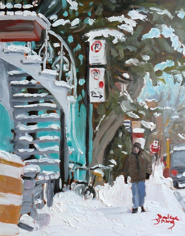 """718 Montreal Winter Scene, rue Jeanne-Mance"" original fine art by Darlene Young"