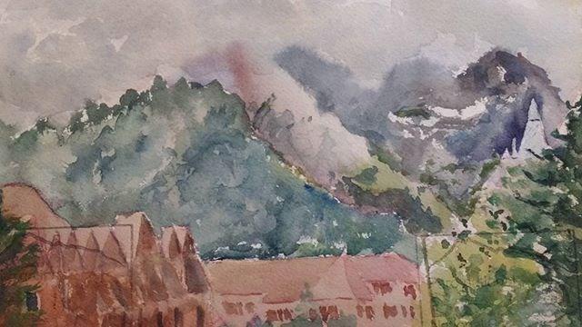 """Cloudy Day in Banff"" original fine art by Maria Peagler"