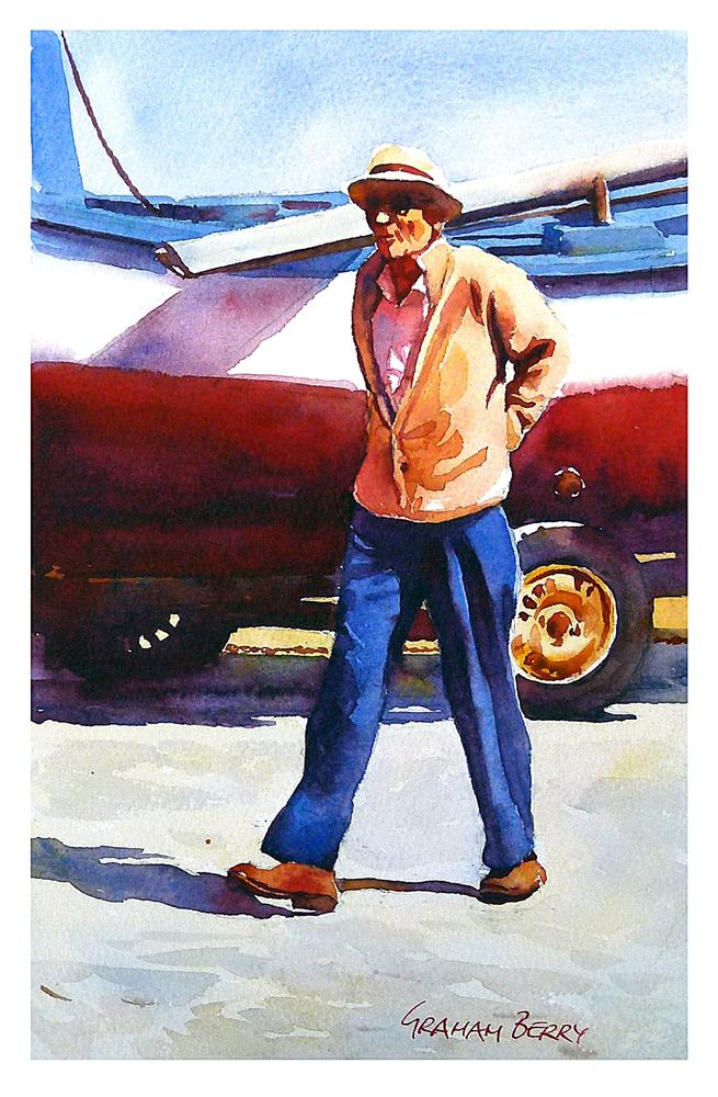 """Whistling man."" original fine art by Graham Berry"