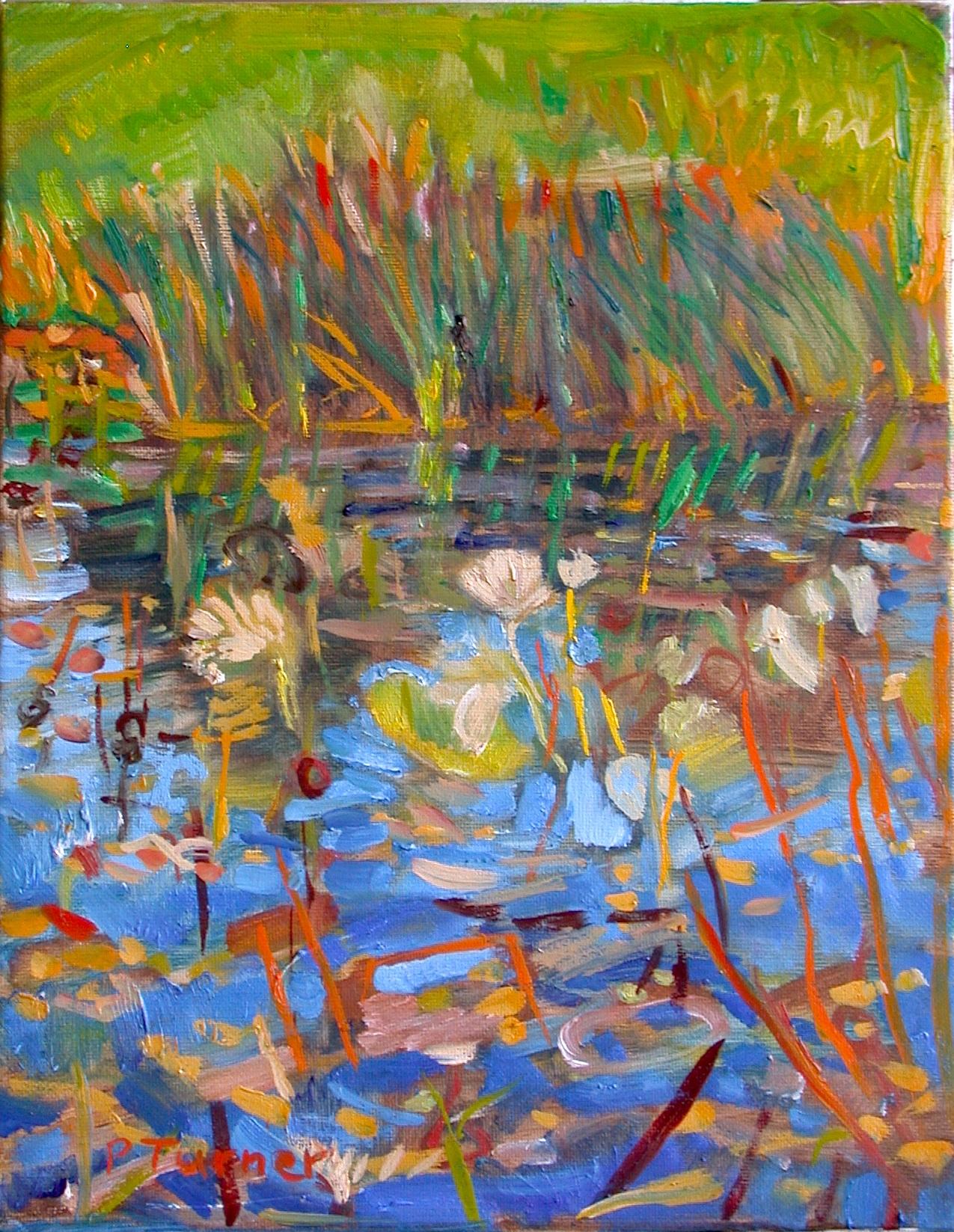 """Lotus Pond"" original fine art by Polly Turner"