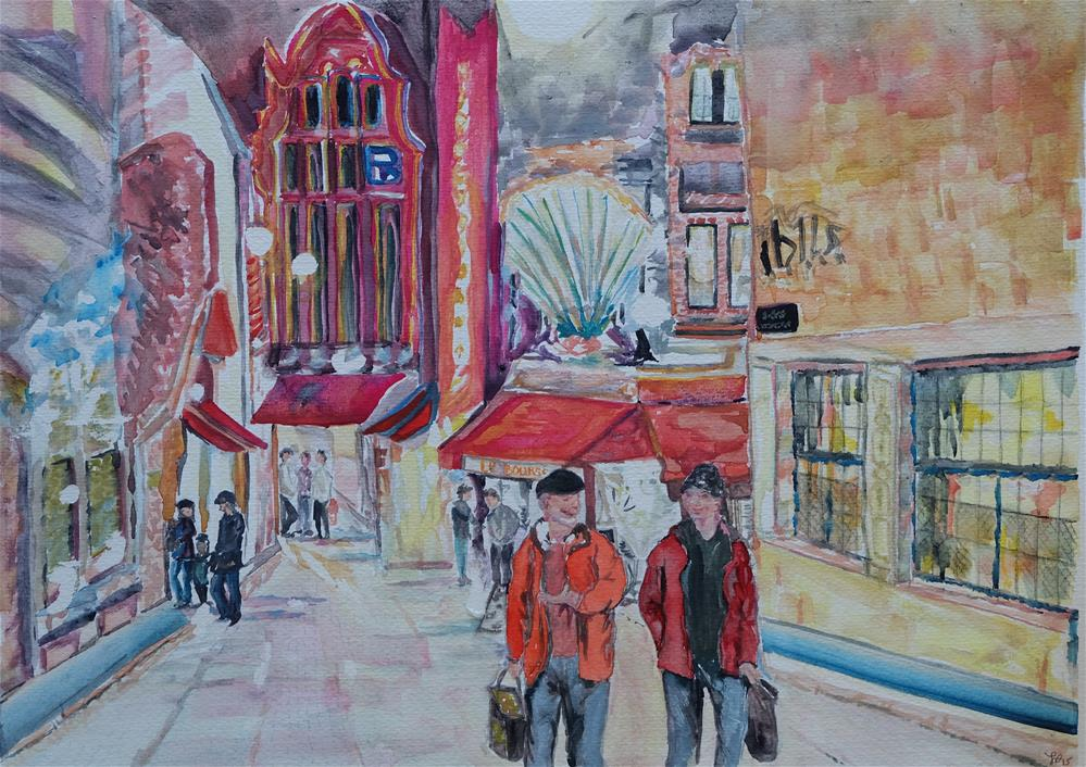 """Rue Des Bouchers, Belgium"" original fine art by Laura Denning"