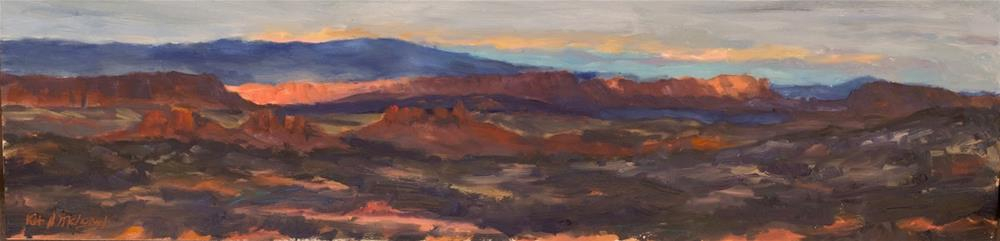 """KM3041 Image of Eternity by Colorado artist Kit Hevron Mahoney ( landscape, 6x24, twilight, sunset,"" original fine art by Kit Hevron Mahoney"